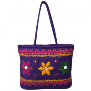 Multi Colour aplic flower on deep blue bag