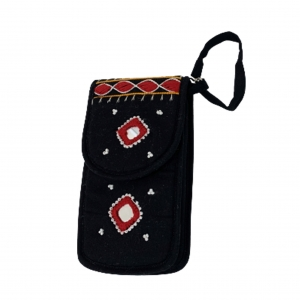 Cell Phone Pouch Shoulder String - Black