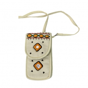 Cell Phone Pouch Shoulder String - White