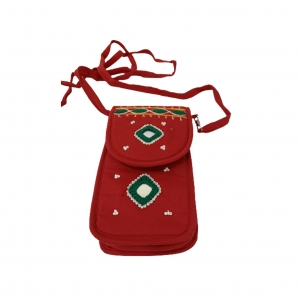 Cell Phone Pouch Shoulder String - Red