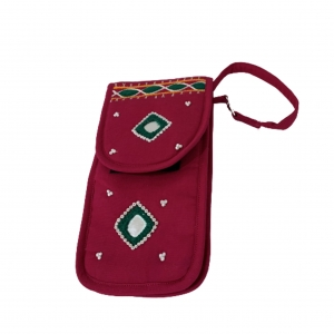 Cell Phone Pouch Shoulder String -  Claret