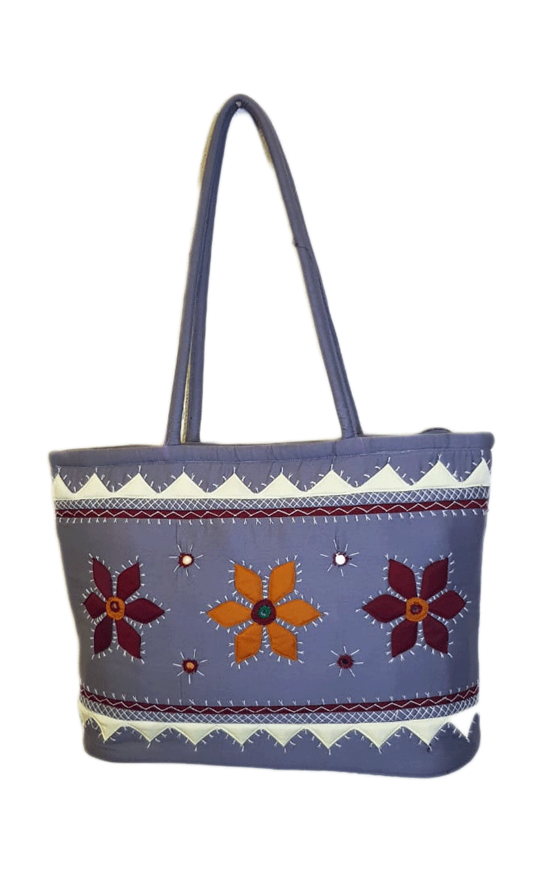 Attractive light blue bag with flowers