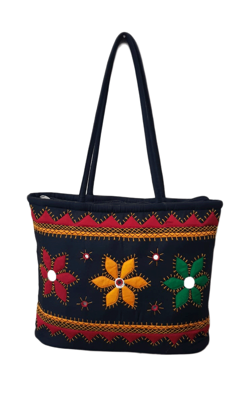 Dark-Blue background colour bag with flowers and mirrors design