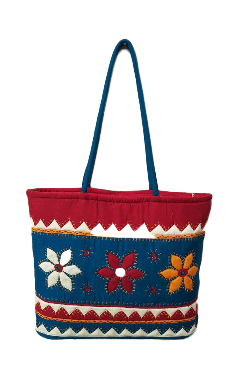 Multi colour red bag with flower
